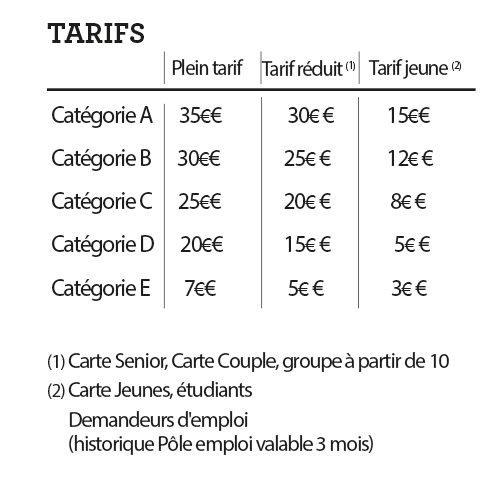 Les tarifs Tropiques Atrium 2018 - 2019
