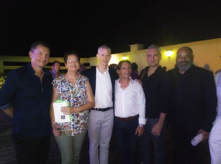 Franck Riester, Manuel Césaire, directeur de Tropiques Atrium, Guillaume Malasné, Gaël Rias, Rodolphe et Vero Cath, L'Autre Bord Compagnie